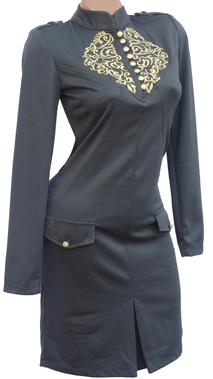 Стильное платье с вышивкой на груди (в расцветках 42-44)