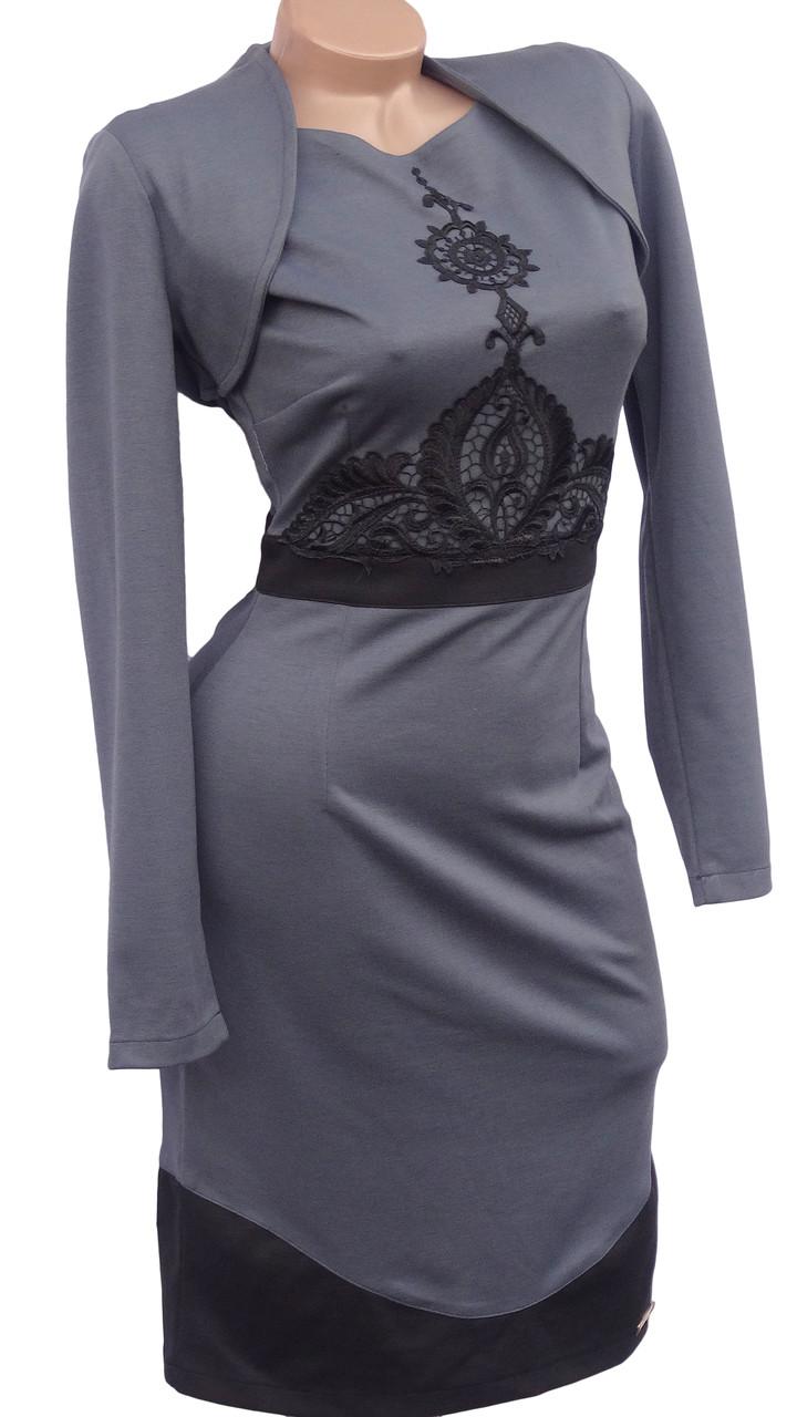 Трикотажное платье с болеро 42р