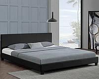 Кожаная кровать BARCELONA 160х200 см. черная