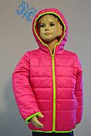 Яркая куртка детская демисезонная для девочки 3 лет (размер 98!) ТМ PoliN line малина/ лимон