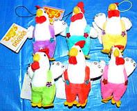 Мягкая игрушка-брелок петух в комбинезоне со стразами №059003