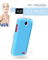 Чехол книжка Nillkin Fresh Leather Case  для телефона смартфона Lenovo A516 синий blue