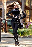 Комбинированный меховой жилет с карманами темно-коричневый, черный