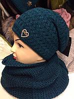 Зимний набор шапка на флисе + шарф - хомут восьмерка (разные цвета)