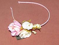 Обруч для волос металл с розами розовый
