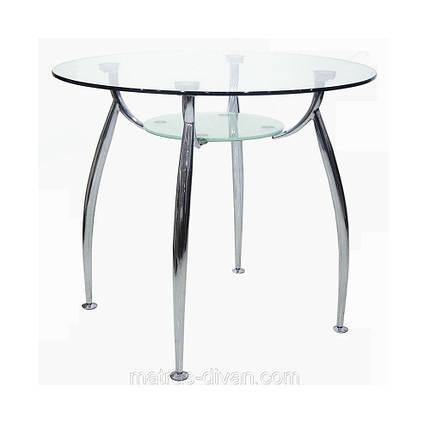 Стол обеденный Голд-03 (круглый) каркас хром, закаленное стекло, полка - прозрачное закаленное стекл, фото 2