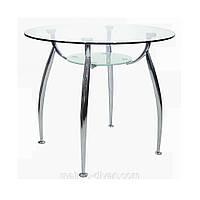 Стол обеденный Голд-03 (круглый) каркас хром, закаленное стекло, полка - прозрачное закаленное стекл