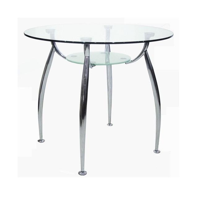 Стол обеденный Голд-03 каркас хром, закаленное стекло, полка - прозрачное закаленное стекло.