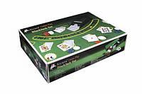 """Покерный набор (игровое сукно, шуз для раздачи карт, 200 фишек, карты пластиковые) """"Крупье"""""""