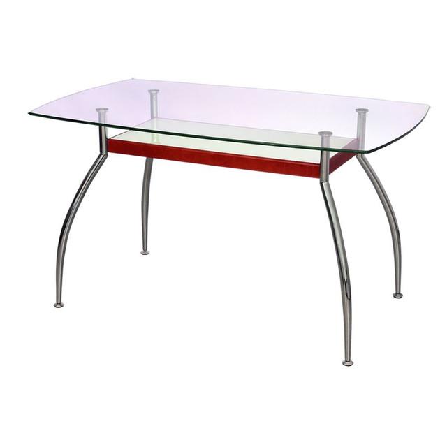 Стол обеденный Голд-02 каркас хром, закаленное стекло, полка ― с декоративными МДФ-накладками. Наименование: Стол обеденный.  Столешница: Закалённое стекло.  Материал базы: Каркас хром.