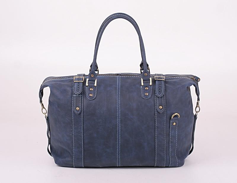 Кожаная дорожная сумка саквояж С-5 синяя