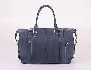 Шкіряна дорожня сумка саквояж З-5 синя