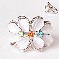 [17,18,19] Кольцо яркое летнее белый цветок стразы кошачий глаз 18