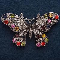 """Брошь Бабочка цвет металла  """"старинное золото"""" в разноцветных стразах 6 см*2,5см"""