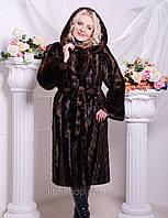 Шуба женская Маргарита коричневая, длинная шуба