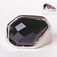 [17,18,19,20] Кольцо перстень Агат грань крупный черный 18