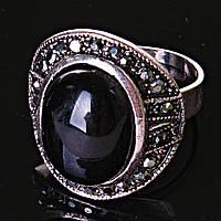 [17,18,19] Кольцо Агат Цветок крупный  черная страза 17
