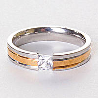 [17,18,19,20] Мужское кольцо обручальное двуцветное страза 19