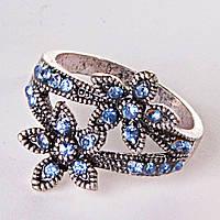 [17,18,19] Кольцо сростание цветок голубой 17