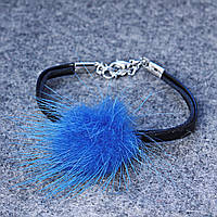 Браслет кожзам с подвеской мини бубон на замочке Голубой мех