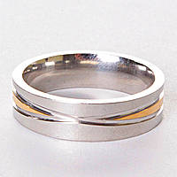 [17,18,19,20] Мужское обручальное кольцо двуцветное сечение 17