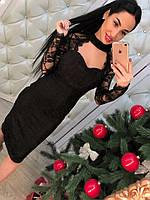 Женское стильное кружевное платье