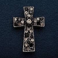 """Брошь Крест Готика в черных и белых стразах цвет металла """"серебро 4,5*3,5см"""