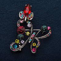 Брошь Бабочка в сиренево-розовых стразах цвет металла серебро 5см