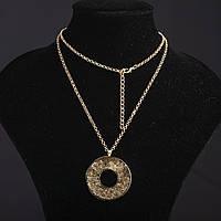 Колье на цепочке Ажурное с наполнителем стразы Кольцо цвет металла золото