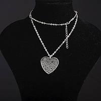 Колье на цепочке Ажурное с наполнителем стразы Сердце2 цвет металла серебро