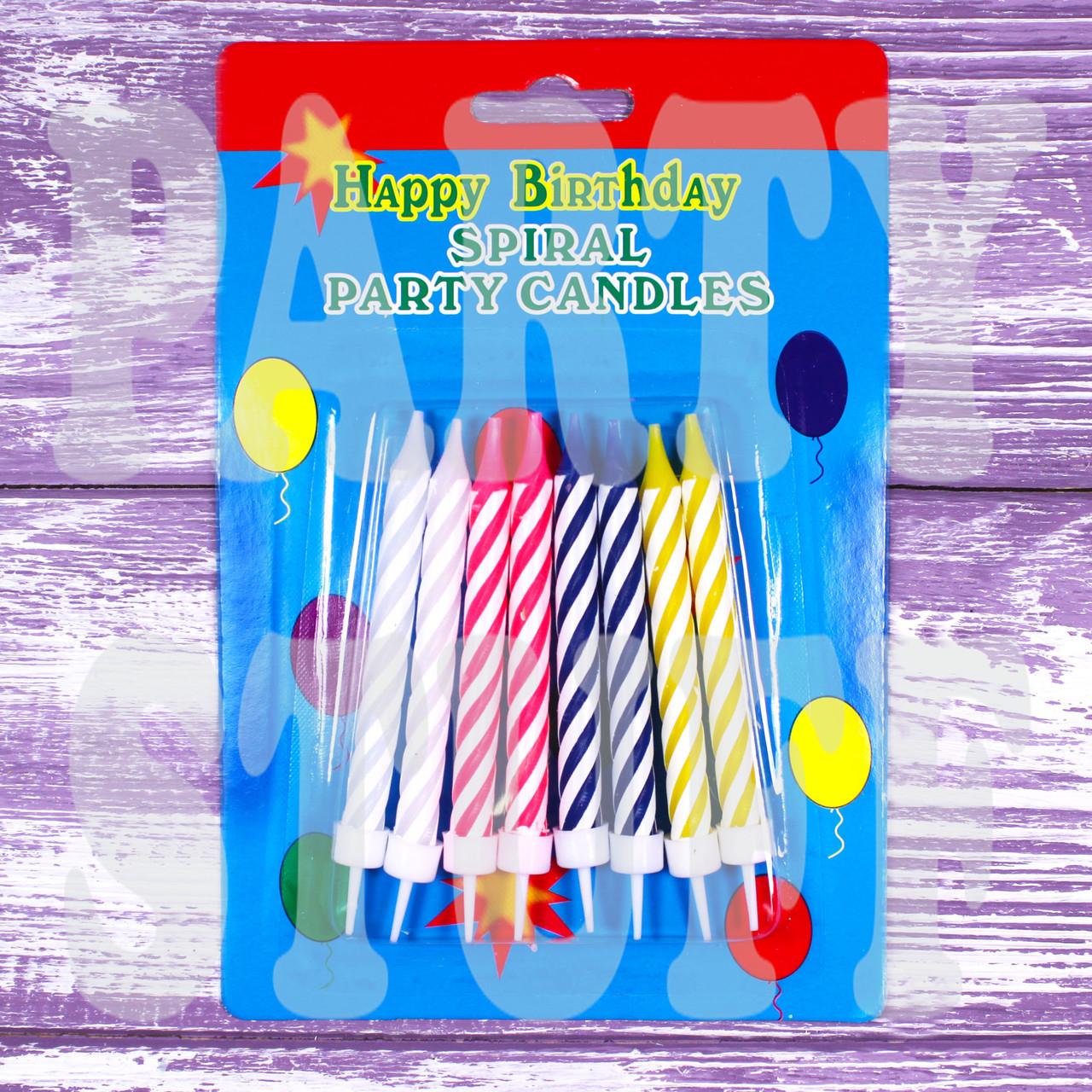 Свечи для торта витые с подставками, 8 шт