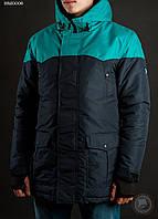 Зимняя куртка (парка) Staff - Snow dark blue with mint Art. BRZ0006 (тёмно-синий \ ментол)