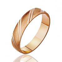 Золотое обручальное кольцо с алмазной гранью