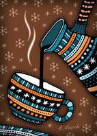"""Почтовая открытка """"Зимний кофе"""", фото 1"""