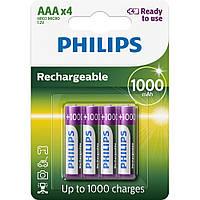 Аккумуляторы AAA 1000 mAh PHILIPS 4 штуки
