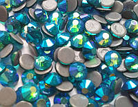Стразы А+ Премиум, Blue Zircon AB (зелено-голубой ав) SS16 (4,0 мм) термоклеевые. Цена за 144 шт.