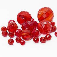 Бусины акрил прозрачные, красный, микс (80~127шт) УТ0032615