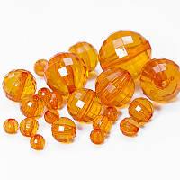 Бусины акрил прозрачные, оранжевый, микс (70~196шт) УТ0032614