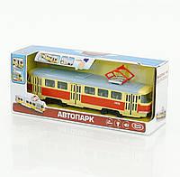Трамвай, музыка, свет фар, двери открываются, инерция, на батарейке, в коробке (ОПТОМ) 9708 А