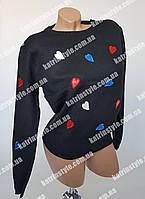 Кофта женская с аппликацией из разноцветных сердечек