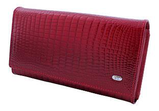 Женский кожаный кошелек ST, красный, со встроенной визитницей.