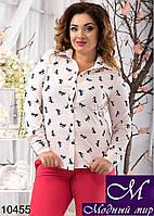 Стильная женская блуза в принт бантики (48, 50, 52, 54) арт. 10455
