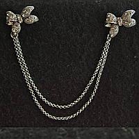 [22/170 мм] Брошь металл под капельное серебро двойная бантики со стразами на цепочке для кардиганов и воротничков