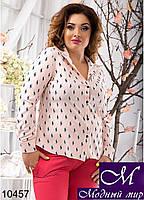 Молодежная женская блуза в принт поло (48, 50, 52, 54) арт. 10457