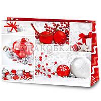 Новогодний картонный подарочный пакет XLL-2 горизонтальный - АССОРТИ