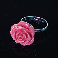 Кольцо безразмерное Роза полимерная глина розовый