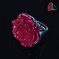 Перстень безразмерный Роза полимерная глина красный