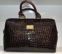 Лакированная сумка коричневая саквояж