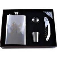 Подарочный набор Moongrass 4в1 -нож/фляга/стопка/лейка AL-104, набор для мужчин ,наборы с флягой.