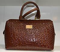Лакированная сумка саквояж принт крокодил